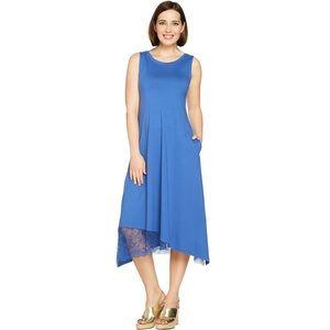 LOGO Lori Goldstein Cotton Modal Dress Lace Hem